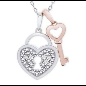 Macy's Diamond accent Heart lock and key necklace